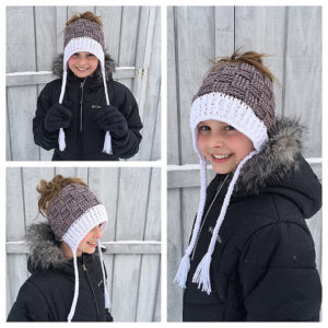 basket weave messy bun hat pattern