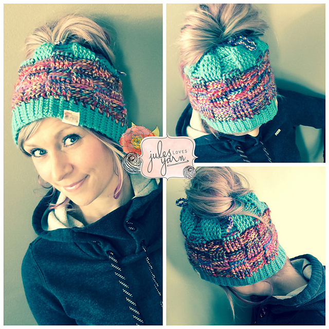 Basket weave ponytail hat pattern