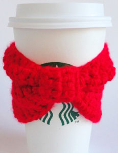 christmas bow coffee cozy crochet pattern