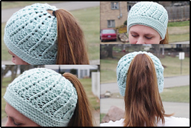 Crochet Ponytail Hat – Yarn Ballin  9f7011b854c
