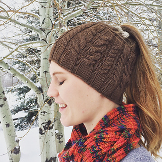 64a23f941bc50 Enjoy! knit hat with ponytail hole pattern