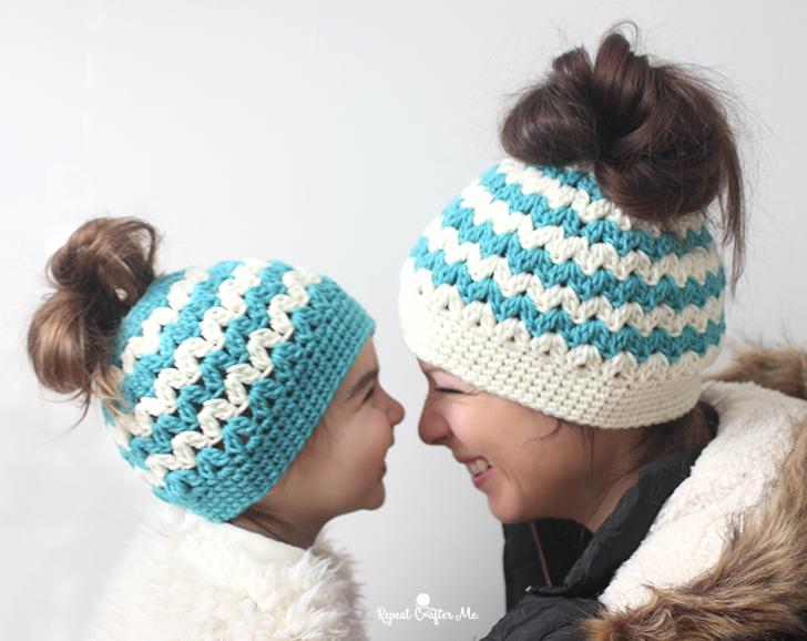 free messy bun hat pattern