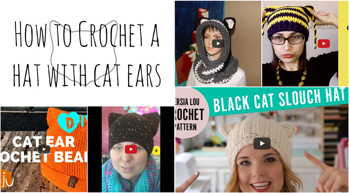 how to crochet cat ears for a hat
