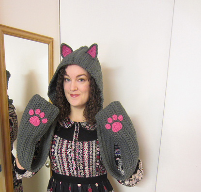 Cat ear crochet scarf free pattern