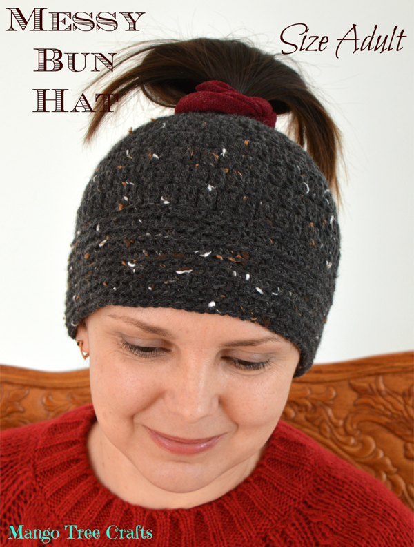 crochet ponytail hat with elastic band