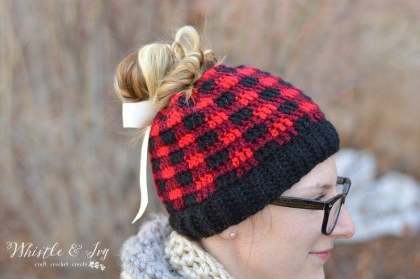 plaid ponytail hat pattern