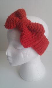knit messy bun beanie with bow