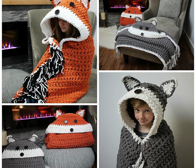 crochet hooded fox blanket