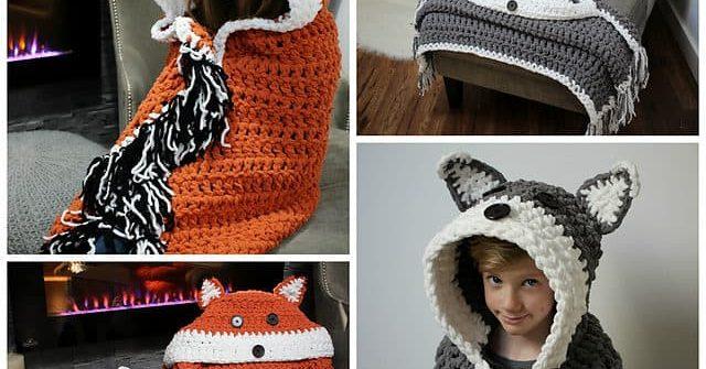 crochet hooded fox blanket
