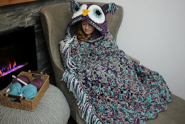 Crochet Hooded Owl Blanket Pattern