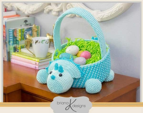 Crochet easter basket pattern roundup dinosaur lovers will love this basket its designed by briana and can be purchase on etsy here negle Choice Image