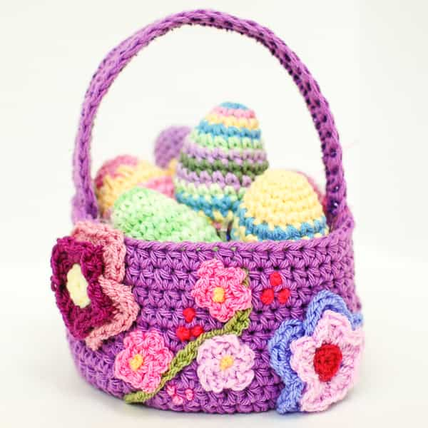 Crochet easter basket pattern roundup petals to picot designed this embellished easter basket and you can find the free pattern here the free pattern for the easter eggs in the basket in the dt1010fo